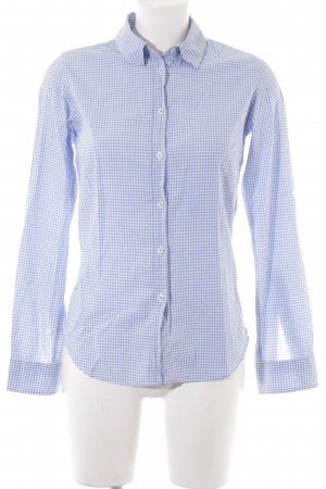 Marie Lund Checked Blouse azure-white cotton