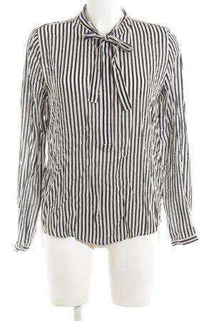 Marie Lund Langarm-Bluse schwarz-weiß Streifenmuster Elegant