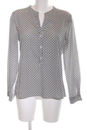 Marie Lund Langarm-Bluse schwarz-weiß Allover-Druck Casual-Look