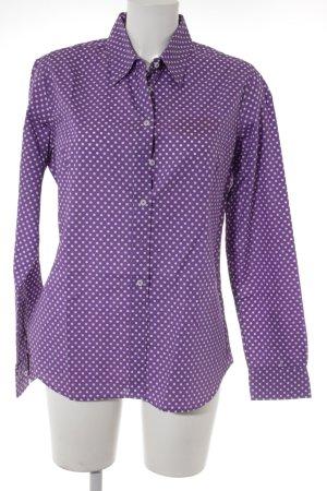 Marie Lund Langarmhemd lila-weiß Punktemuster