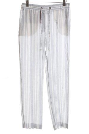 Marie Lund Leinenhose hellgrau-weiß Streifenmuster Casual-Look