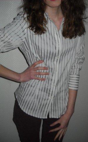 Marie LUND Long Bluse Tunika weiß grau Streifen gestreift Kragen 38 40 M L