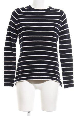 Marie Lund Rundhalspullover schwarz-weiß Streifenmuster Casual-Look
