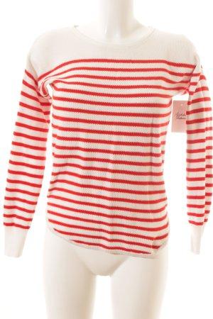 Marie Lund Rundhalspullover rot-weiß Streifenmuster Casual-Look