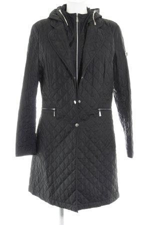 Marie Lund Manteau matelassé noir motif de courtepointe style décontracté