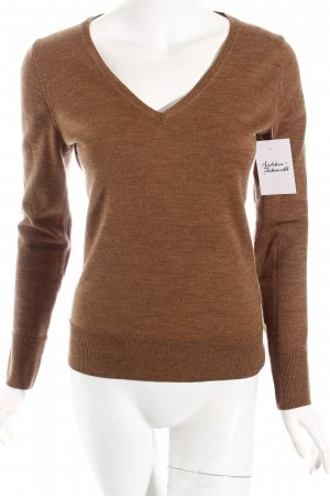 Marie Lund V-Ausschnitt-Pullover hellbraun klassischer Stil