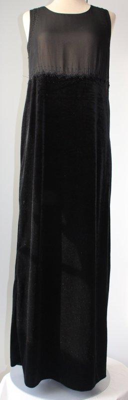 Marie Philippe Samtkleid schwarz Gr. 38 M Maxikleid lang Abendkleid gothic Kleid