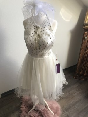 Viol vestido de globo blanco puro-gris oscuro