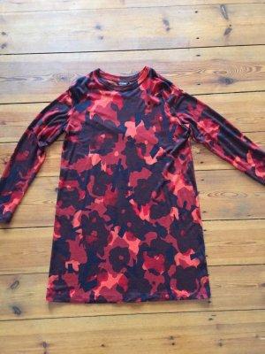 marimekko-Kleid, Shirt-Kleid, Gr. s/ 36, rot-lila, Blumen, Baumwolle