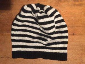 marimekko Mütze, Merinowolle, schwarz-weiß gestreift