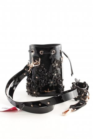 "Marina Hoermanseder Borsellino ""Kasper Flower Bucket Bag Lacquer Black"""