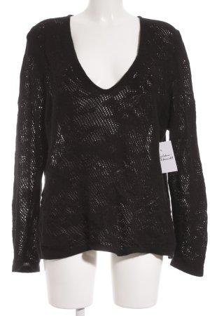Marina Rinaldi Pull en cashemire noir motif tricoté lâche style décontracté