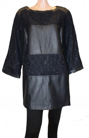 Marina Rinaldi Lederkleid Spitzenkleid schwarz Kleid Gr. 48/50