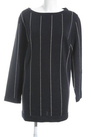 Marina Rinaldi Suéter azul oscuro-blanco puro estampado a rayas look casual