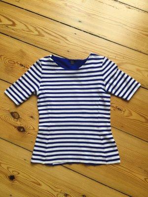 Marine gestreiftes COS T-Shirt – dickerer Stoff / Kurzarmpulli