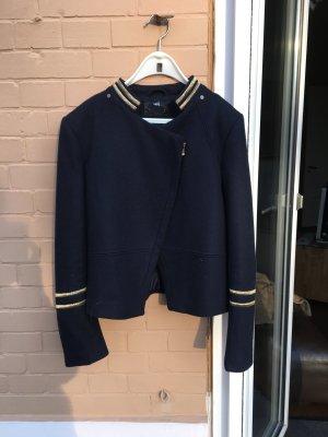 Marine Jacke Kurzjacke Blazer dunkelblau sailor Matrosen Navy Gold blau Asymmetrisch