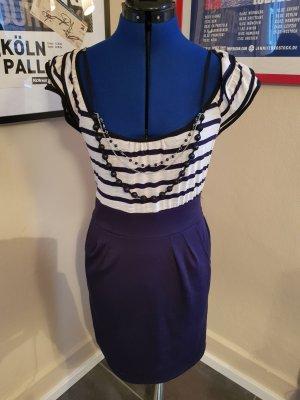 Marine Kleid Rockabella Kleid Elegant in Marineblau Creme weiß in Gr. 38