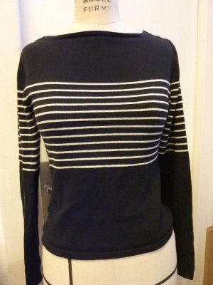 Marine Style Pullover Schwarz weiß gestreift