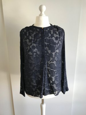 Marineblaue Langarm-Bluse