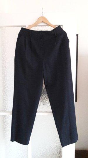 Marineblaue Stoffhose mit Knopfleiste und hoher Taille