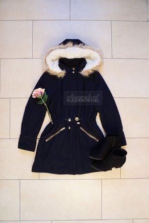 Marineblauer Wintermantel Fake Fur