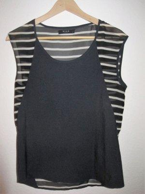 marineblaues Shirt/Bluse mit Streifen am Rücken