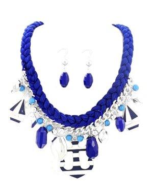 Mariner Marine Schmuckset Kette Collier Necklace Set Ohrringe Zopf Anhänger Ruder Anker Perlen Bot Emaille gestreift Weiß Blau