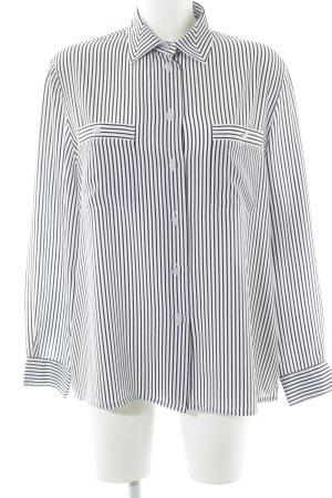 Mario Rosella Langarm-Bluse weiß-schwarz Streifenmuster Business-Look