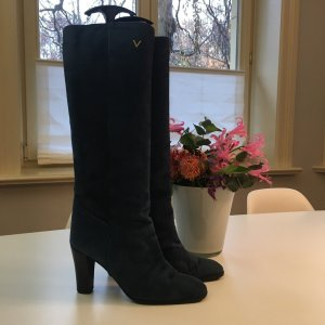Mario Valentino Heel Boots dark blue-blue leather