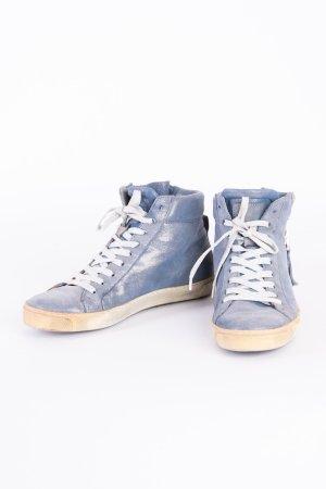 MARIPÉ - Hightop-Sneaker in Schimmeroptik mit verspielten Details Blau USED LOOK