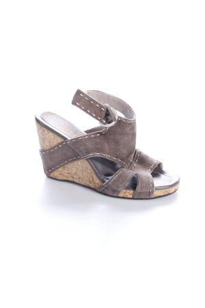 Maripé Wedges Sandaletten graubraun Stickerei-Detail