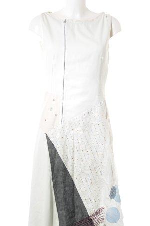 Marithé + Francois Girbaud A-Linien Kleid creme abstrakter Druck Elegant