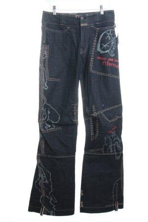 Marithé + Francois Girbaud Straight-Leg Jeans dunkelblau Street-Fashion-Look