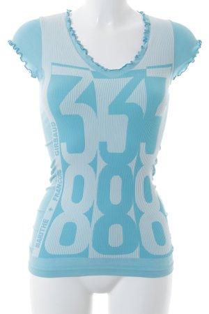 Marithé + Francois Girbaud Camiseta turquesa-azul claro estilo deportivo