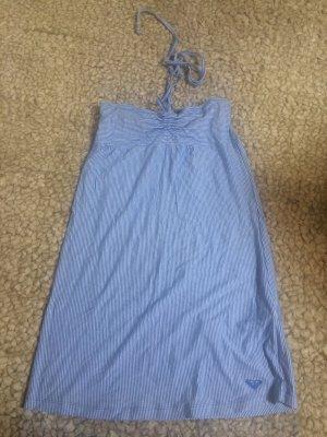 Maritim gestreiftes, blaues Neckholder Kleid von Roxy, XS