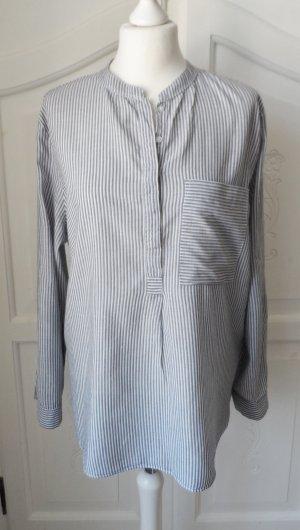 Esprit Tunique-blouse bleu foncé-blanc coton