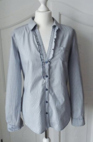 maritime ESPRIT Rüschen Bluse Gr. 40 Blau Weiß nur 1 x getragen