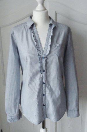 Esprit Ruche blouse wit-blauw Katoen