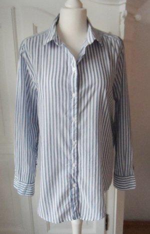 H&M Long Sleeve Blouse white-azure cotton