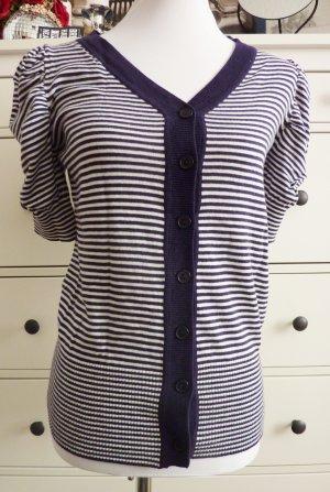 maritime Shirt Jacke Cardigan Kurzarm Pulli blau weiss gestreift 38
