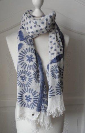 maritimer ESPRIT Schal Weiß Blau nur 1 x getragen
