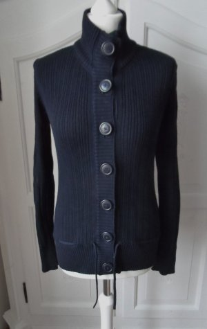 H&M L.O.G.G. Coarse Knitted Jacket dark blue cotton