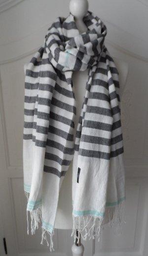 maritimer s.Oliver XXL Schal Weiß Grau nur 1 x getragen
