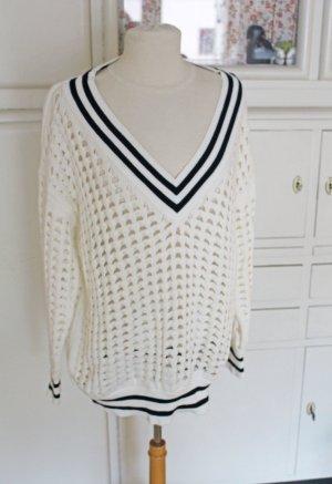 Next Oversized Sweater white-dark blue cotton