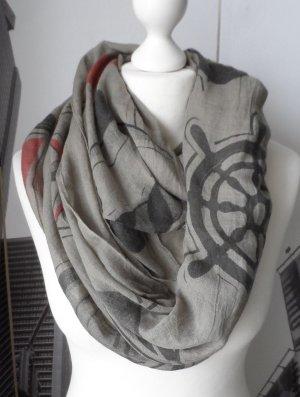 maritimer XXL Loop Schal Viscose / Baumwolle Khaki Schwarz Rot wenig getragen