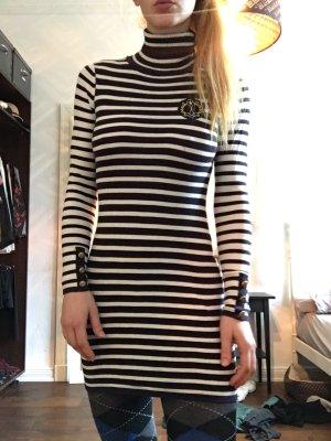Maritimes enges mini Kleid Rollkragen ärmel patches Long Pullover langarm gestreift Hilfiger like Matrosen schwarz weiß streifen Aufnäher
