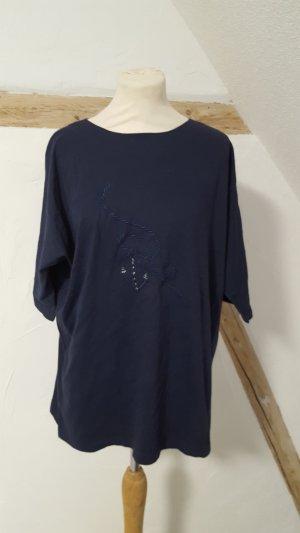 Top extra-large bleu foncé-blanc coton