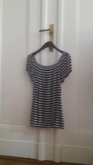 Camisa de rayas blanco-azul oscuro Algodón
