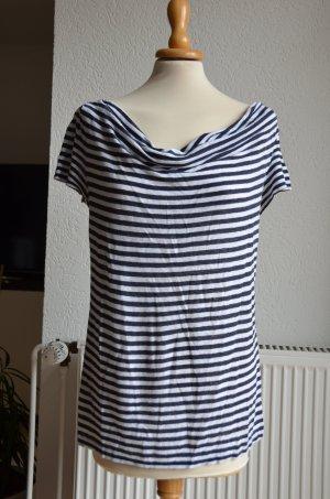 JIGSAW Cowl-Neck Shirt white-blue linen