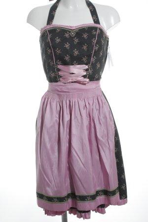 MarJo Dirndl rosa-schwarz Blumenmuster Elegant